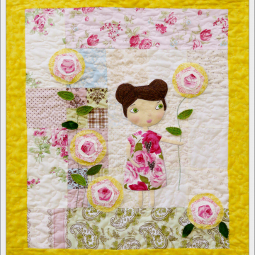 She lingers in her garden Quilt pattern rose wall hanging