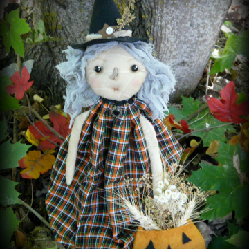 Prim Witch doll Halloween pattern Agatha - PDF new 2013 fall primitive spooky pu