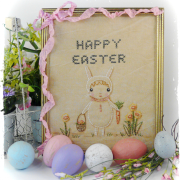 Happy Easter, Hoppin down the bunny trail embroidery pattern #354 stitchery