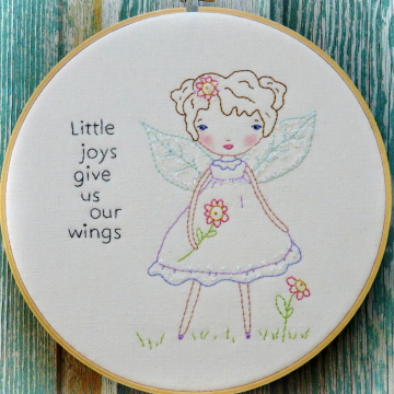 Little joys give us our Wings embroidery Fairy pattern, #352