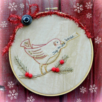 Joy to the world embroidery christmas red bird pattern, #344