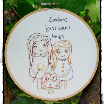 Zombies just want hugs embroidery pattern - halloween girls pumpkin gothic dead