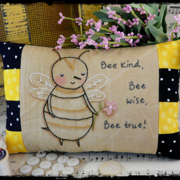 Bee kind, Bee wise, Bee true embroidery pattern pillow