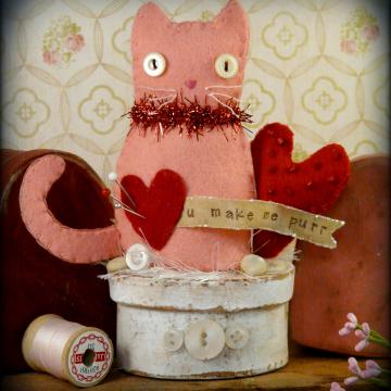 Valentine Kitty Cat Make DO pattern pincushion