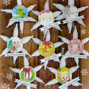 Vintage Christmas ornaments and banner pattern #345 set of 8