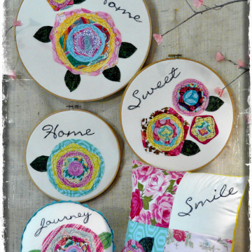 Home is the happiest place hoop art pattern