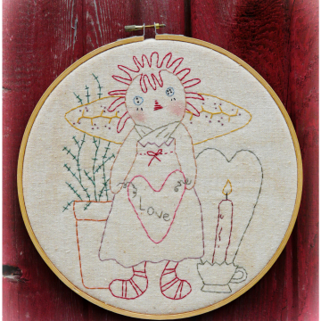 Live simply, Love greatly embroidery pattern raggedy ann valentine  #349