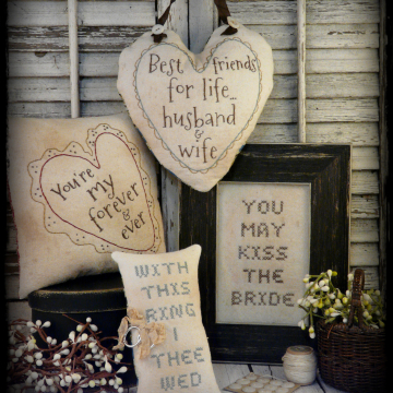 Primitive country wedding 4 project embroidery pattern #327