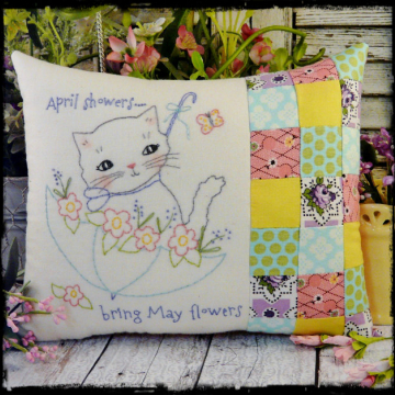April showers bring may flowers kitty cat embroidery pillow pattern