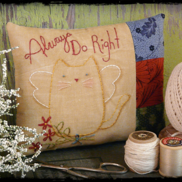 Always do right embroidery pattern - kitty angel