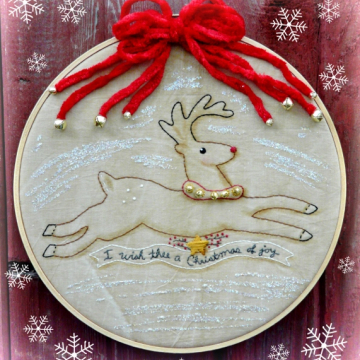 I wish thee a Christmas of joy Reindeer embroidery pattern #346