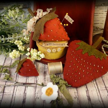 Strawberry pincushion, needlecase, and scissors fob pattern #330