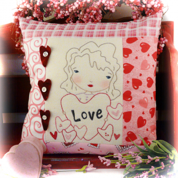 Love...Be mine embroidery pattern, #348 girl hearts pillow