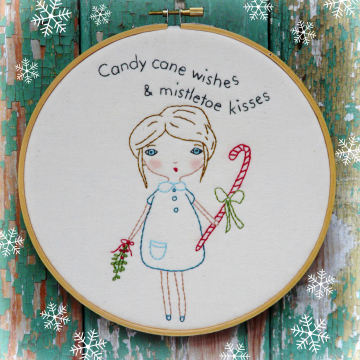 Candy cane wishes & mistletoe kisses embroidery pattern #347