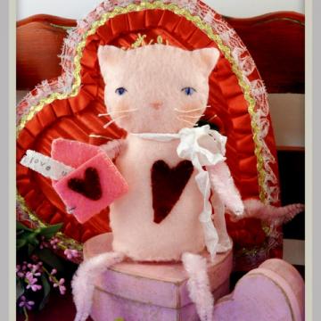 Love U...Kitty cat felt wool doll pattern, #351