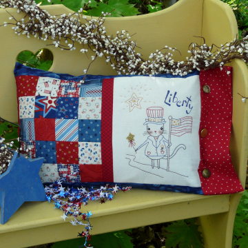 Liberty patchwork pillow cat embroidery pattern #329