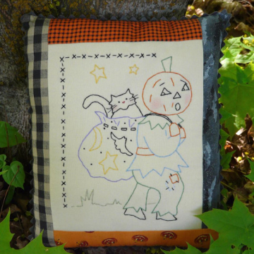 Letting the cat outta the bag halloween embroidery pattern