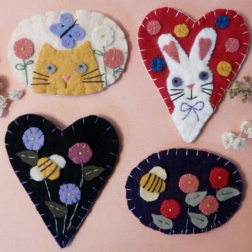 SPRING WOOL PINS cat bunny bee