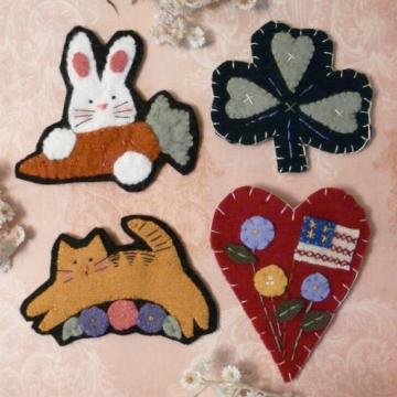 Spring & Summer WOOL PINS jumping kitty shamrock bunny