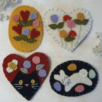 Spring & Summer 2- WOOL PINS cat bunny