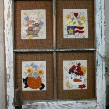 Four Seasons Cats & Flowers Pattern