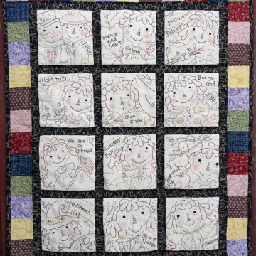 Raggedy Gals embroidery big Quilt pattern 12 months