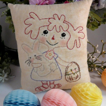 """Beautiful Spring"" stitchery raggedy ann pattern Easter"