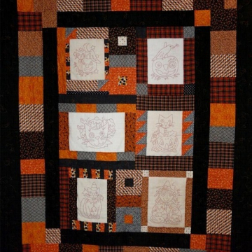 HALLOWEEN ORANGE WORK STITCHERY QUILT pattern