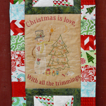 Snowman trimming tree embroidery quilt pattern