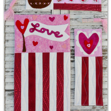 A vintage Valentine heart banner mini Quilts pattern