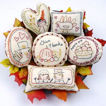 Thanksgiving- 8 embroidery designs, ornaments & bowl fillers pattern