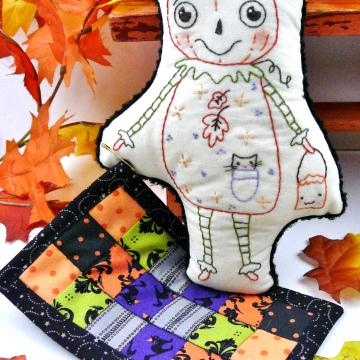 hand embroidery halloween pumpkin doll pattern
