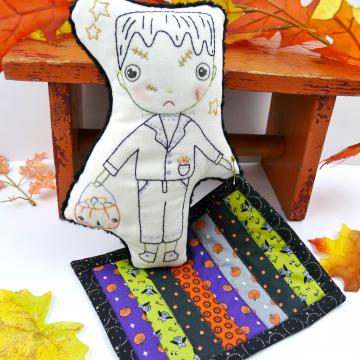 Frankenstein monster doll with quilt pattern