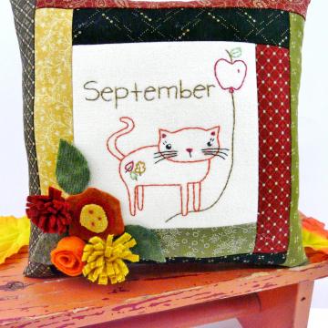 kitty cat september wool flowers apple leaves pillow pattern