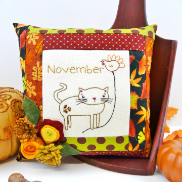kitty cat balloon month november pillow embroidery pattern