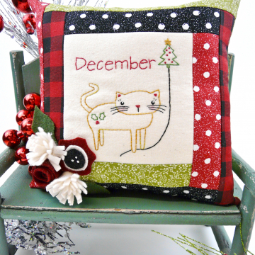 kitty cat christmas december balloon embroidery pattern