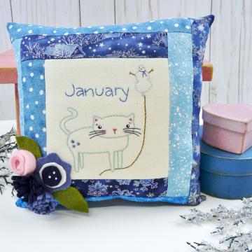 winter kitty cat snowman embroidery pattern