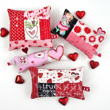 valentine hand embroidery pincushion quilted pattern