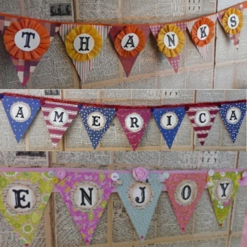 Personalized Pennant banner pattern  thanks america enjoy