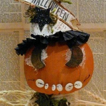 """""""Halloween"""" Grinning Pumpkin pattern make do"""