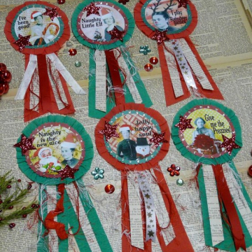 Christmas art Badges pin pattern santa brooch