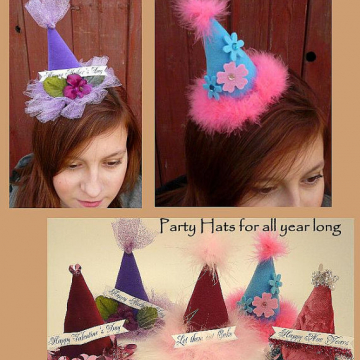Festive Party Hats with Banners pattern all holidays