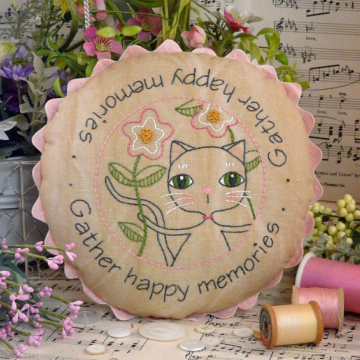 Gather happy memories cat embroidery Pattern