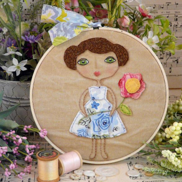 Vintage Garden Party Girl Stitchery pattern hoop art