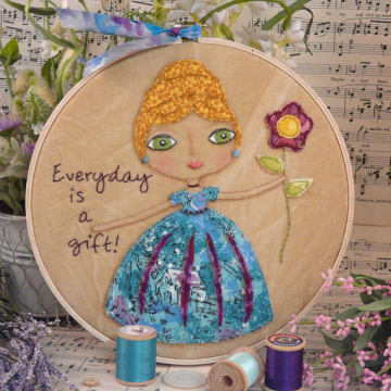 Everyday is gift Stitchery hoop art pattern embroidery girl