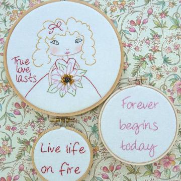True love lasts Stitchery hoop pattern quotes