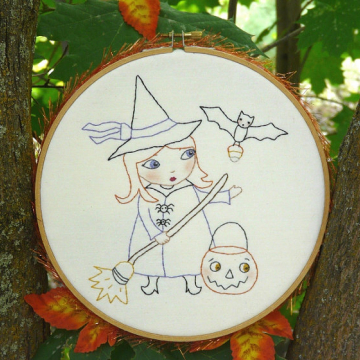 Trick or treat candy & sweets Stitchery hoop girl witch pattern