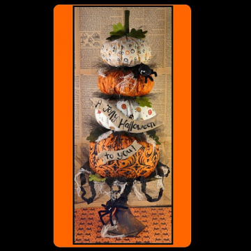 A Jolly halloween to you pattern stack pumpkins banner