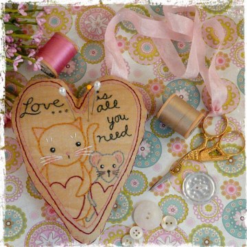 All you need is love, pin cushion scissor fob embroidery pattern cat mouse