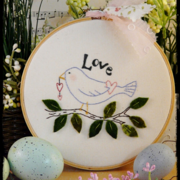 Love bird spring embroidery pattern